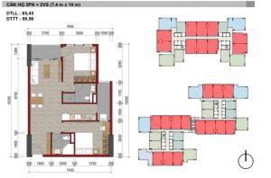 thiết kế căn hộ 2 phòng ngủ charm city dĩ an
