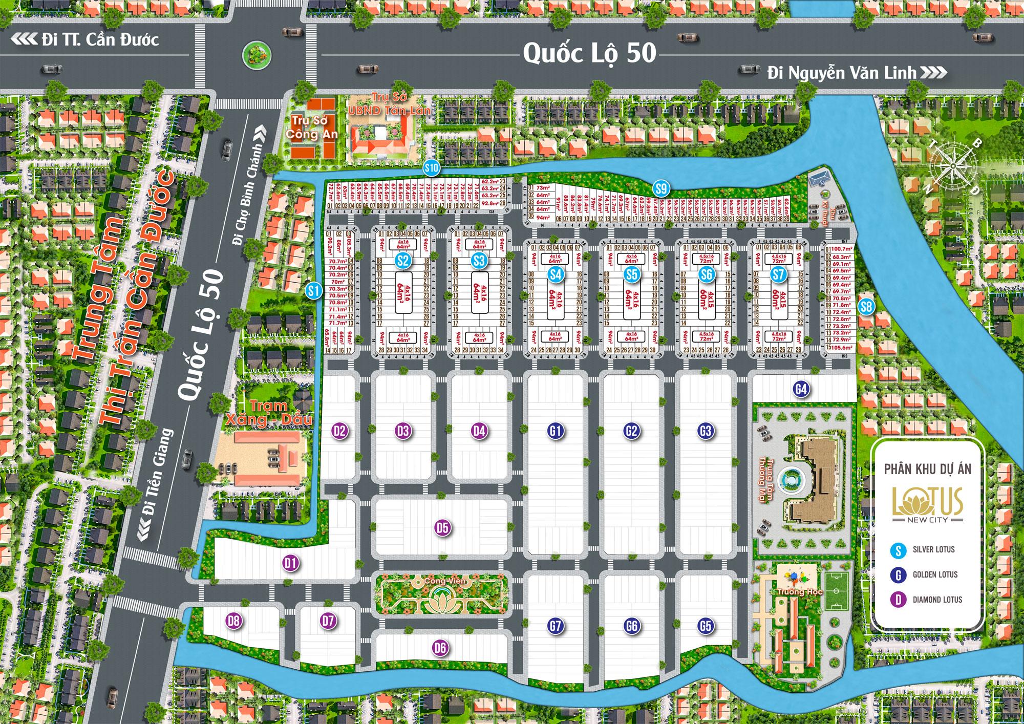 Sơ đồ phân lô dự án Lotus New City Long An