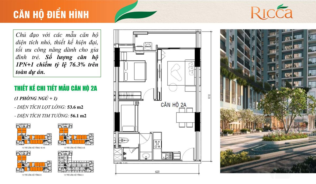Thiết kế điển hình căn hộ Ricca