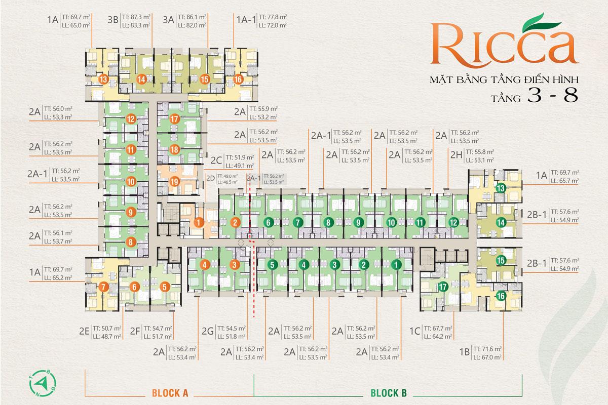 Mặt bằng tầng điển hình tầng 3 - 8 căn hộ Ricca