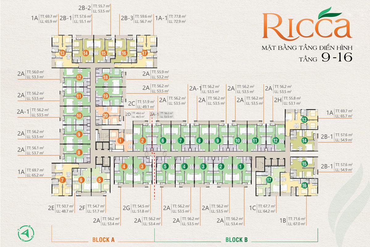 Mặt bằng tầng điển hình tầng 9 - 16 căn hộ Ricca