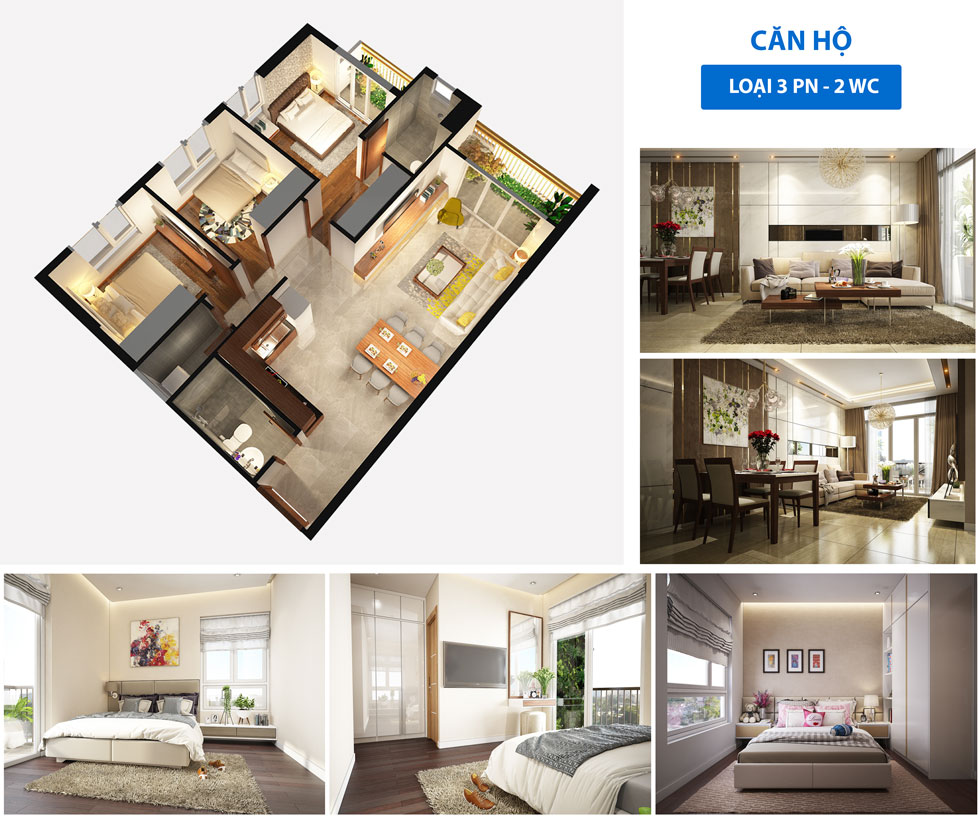 Thiết kế căn hộ 2 phòng ngủ ST Moritz