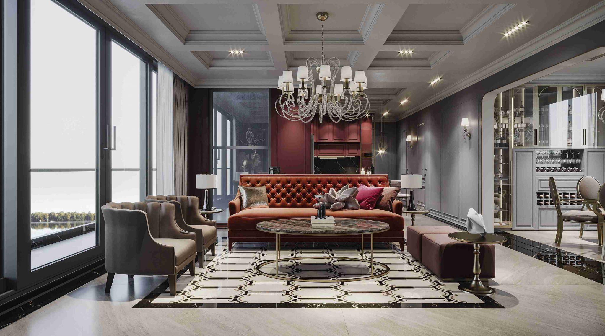 Thiết kế căn hộ Panomaxm River Villa Phòng Khách