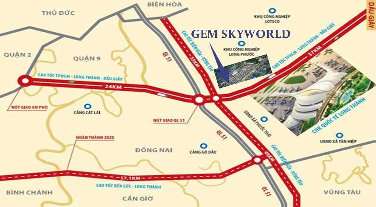 Vị trí dự án Gem Sky World